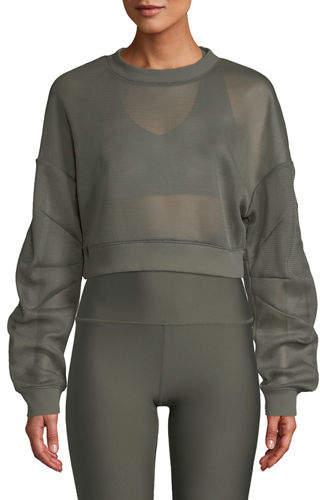 Alo Yoga Row Mesh Sheer Cropped Pullover Sweatshirt