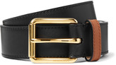 Burberry 3.5cm Two-Tone Embossed Leather Belt