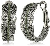 Vera Bradley Feathers Hoop Earrings in Silver Tone