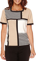 Alfred Dunner Madison Park Short-Sleeve Colorblock Sweater - Petite