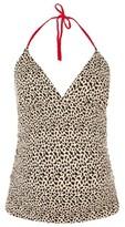 Topshop Women's Leopard Halter Maternity Tankini Top