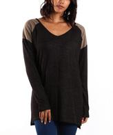 La Femme Taupe & Black Contrast-Yoke V-Neck Tunic