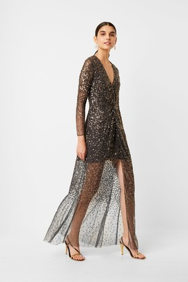 French Connection Emille Sequin Plunge Maxi Dress
