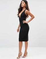 Rare Plunge Neck Ribbed Dress With Strappy Back