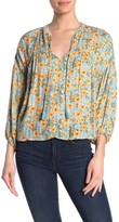Love Stitch Drop Sleeve Floral Peasant Blouse