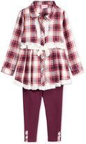 Nannette Little Girls' 2-Pc. Plaid Lace Shirtdress and Leggings Set