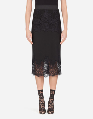 Dolce & Gabbana Crepe De Chine Midi Skirt With Lace Details