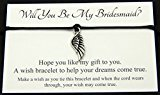 Will You Be My Bridesmaid? Wedding Angel Wing Charm Wish Bracelet Card Gift Bag Friendship charmed Bracelet Party Favour(Hand made in UK) (Turquoise) by Lucor