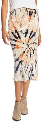 Free People Bali Serious Swagger Tie Dye Velvet Midi Pencil Skirt
