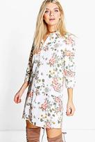 Boohoo Khloe Floral Oriental Split Sleeve Shirt Dress