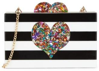 Bari Lynn Iridescent Heart & Stripe Acrylic Box Bag