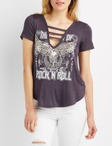 Charlotte Russe Caged Rock N Roll Graphic Tee