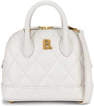 Balenciaga XXS Quilted Leather Ville Top Handle Bag in White   FWRD