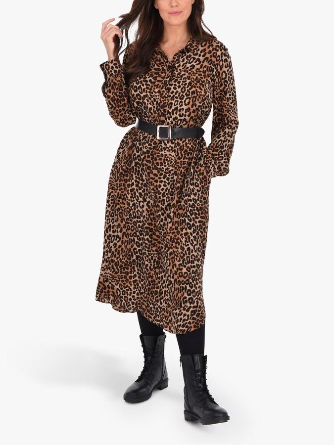 Live Unlimited Curve Animal Print Tiered Hem Dress, Black/Multi