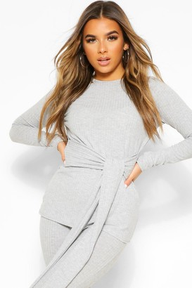 boohoo Petite Knitted Rib Belted Top and Leggings