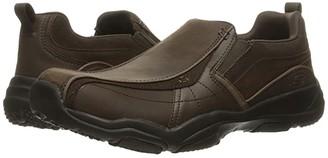 Skechers Classic Fit Larson - Berto (Dark Brown Leather) Men's Slip on Shoes