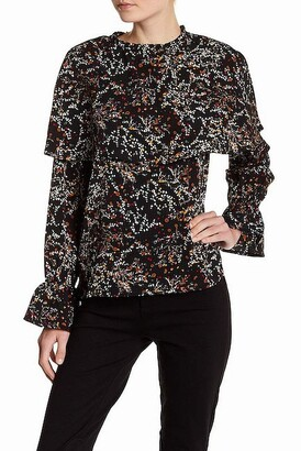 Lucca Couture Women's Aliyah Floral Print Flutter Cape Blouse
