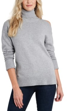 1 STATE Cold-Shoulder Cuffed Turtleneck Sweater