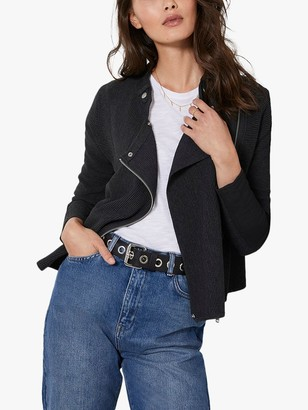 Mint Velvet Biker Zip Cardigan, Grey