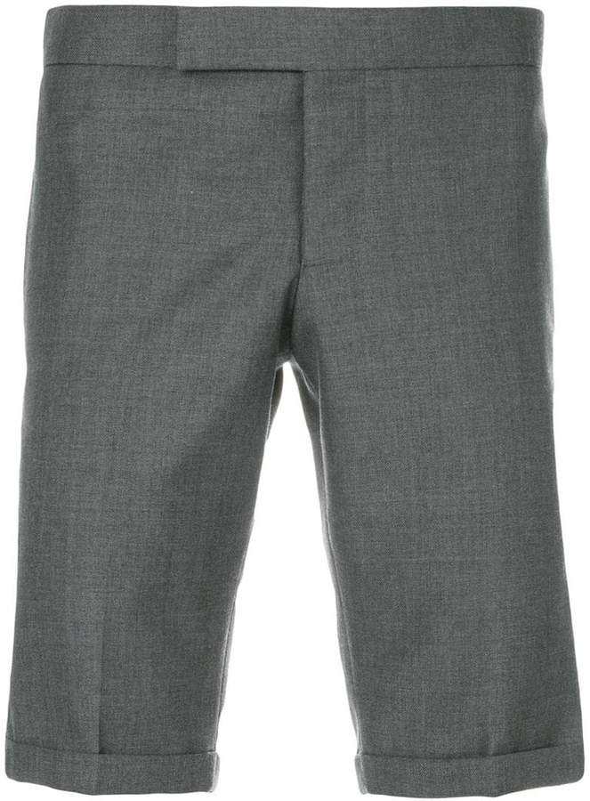 Thom Browne Engineered Striped Side Seam Solid Wool Twill Skinny Shorts