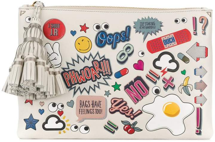 Anya Hindmarch Georgiana Wink Stickers pouch