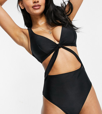 Wolfwhistle Wolf & Whistle Fuller Bust Exclusive wrap detail cut out swimsuit in black