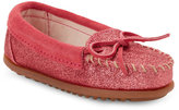 Minnetonka Kids Girls) Hot Pink Glitter Moccasins