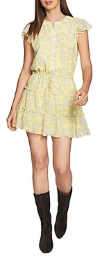 1 STATE Floral Print Tiered Ruffle Dress