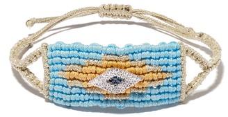 Diane Kordas Evil Eye diamond woven bead bracelet