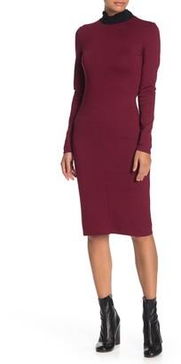 Contrast Mock Neck Midi Dress