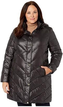 Lauren Ralph Lauren Plus Size 3/4 Chevron Puffer Parka with Removable Hoodie (Black) Women's Clothing