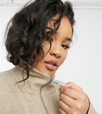 ASOS DESIGN Curve sweater with half zip and wide sleeves in stone