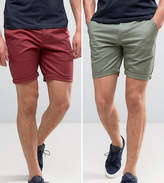 Asos 2 Pack Slim Chino Shorts In Berry & Light Green SAVE