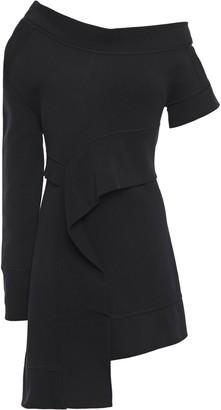 Burberry Cold-shoulder Cotton-blend Fleece Mini Dress