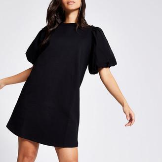 River Island Petite black poplin puff sleeve T-shirt dress
