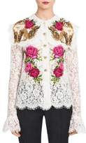 Dolce & Gabbana Floral-Embroidered Lace Blouse