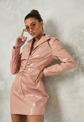 Missguided Pink Ruched Vinyl Mini Dress
