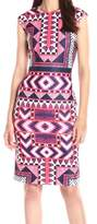 Vince Camuto Womens Printed Sleeveless Wear to Work Dress