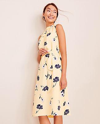 Ann Taylor Petite Sunny Poppy Tie Waist Flare Dress