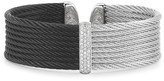 Alor Two Tone Wide Cable Cuff with Diamonds