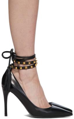 Valentino Black Garavani Ankle Strap Rockstud 100 Heels