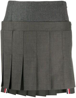 Thom Browne Mini Pleated Skirt With Yoke In Super 120's Twill