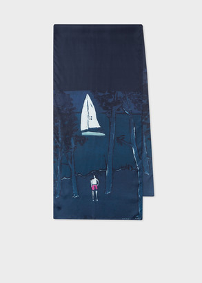Paul Smith X Tom Hammick - 'Night and Day' Print Silk Scarf