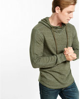 Express marled waffle knit crossover collar hoodie
