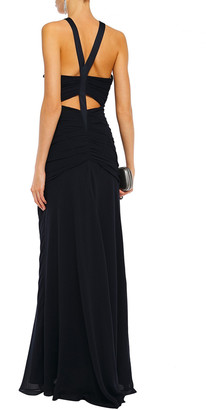 Halston Georgette-paneled Cutout Ruched Crepe De Chine Gown
