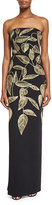 Lela Rose Leaf-Embroidered Strapless Column Gown, Black/Gold