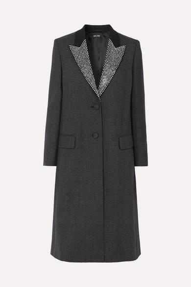 Miu Miu Crystal-embellished Prince Of Wales Checked Wool Coat - Black