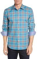 Bugatchi Men's Big & Tall Shaped Fit Plaid Sport Shirt
