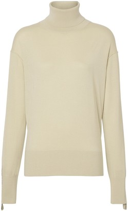 Burberry Logo Detail Merino Wool Silk Roll-neck Sweater