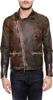 Giorgio Brato Leather Jacket With Diagonal Zip